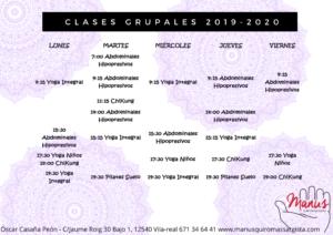 Hoarios Clases Grupales MANUS